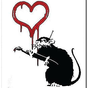 Banksy Rat Love Heart drinks mat / coaster   (2f)