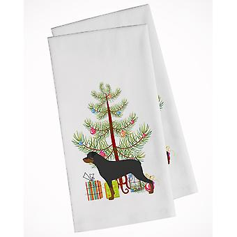 Rottweiler Merry Christmas Tree White Kitchen Towel Set of 2
