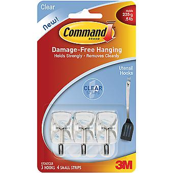 Command Utensil Hooks With Clear Strips 3 Pkg Clear 17067Clr