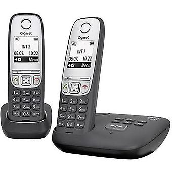 Cordless analogue Gigaset A415A Duo schwarz Answerphone, Hands-free Black, Silver
