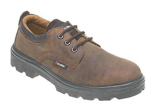Toesavers Brown Leather 3 Eyelet Safety Shoe 1411 with Dual Density Sole & Midsole