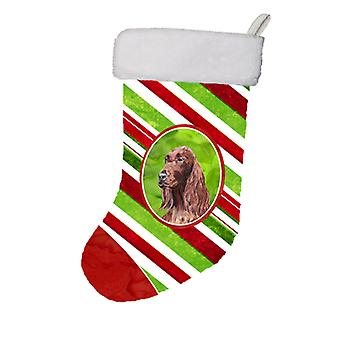 Calza di Natale Christmas Candy Cane Setter irlandese
