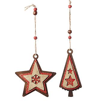 Red & Gold Multi-layered Wooden Hanging Christmas Tree Decorations
