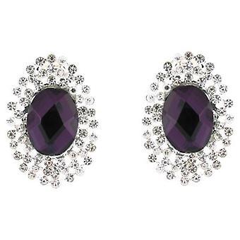 Clip op oorbellen Store paarse steen en duidelijke Diamante Crystal ovaal Clip op oorbellen