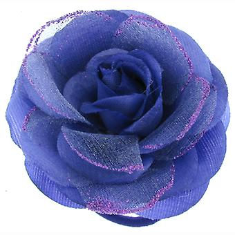 Purple Lace Fabric Corsage Rose Flower Brooch / Hair Clip / Pony Tail