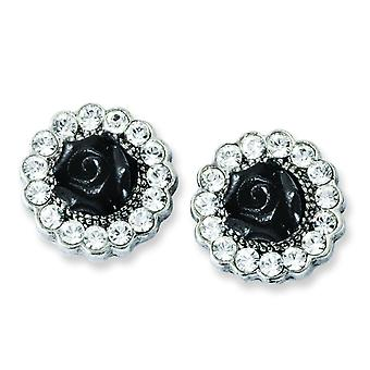 Silver-tone Black Flowers and Clear Crystal Post Earrings