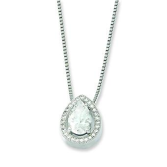 Sterling Silver and CZ Brilliant Embers Teardrop Necklace - 18 Inch