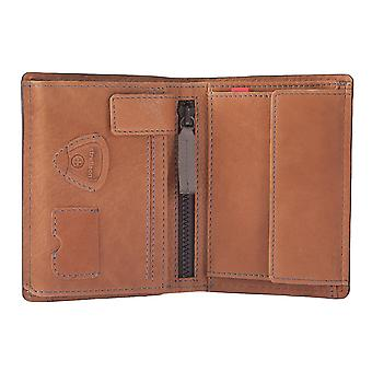 STRELLSON mens wallet portefeuille purse Cognac/Navy/Red