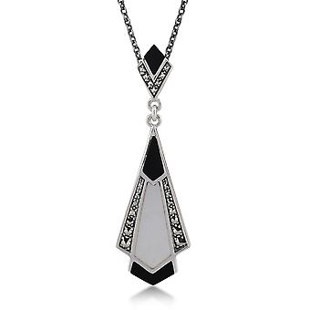 Sterling Silber Schwarz Onyx, Mutter der Perle & Markasit 45cm Halskette