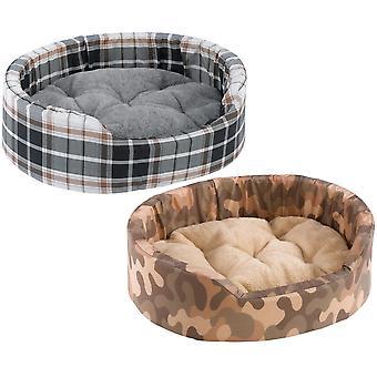 Dandy algodón y piel Tartan cama mixta 95x60x23cm de colores X3 (paquete de 3)