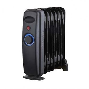 9 Fin Mini 1000W Oil Filled Radiator Black Freestanding Portable