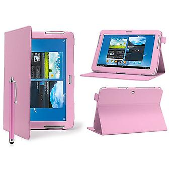 Winkel Buch Leather Case cover für Samsung Galaxy Tab 2 7.0 P3100 + Stylus-Stift - Baby Pink