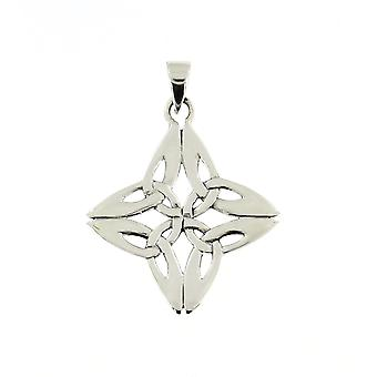 Handmade 925 Sterling Silver Rhombus Shaped Triquetra Chain Pendant