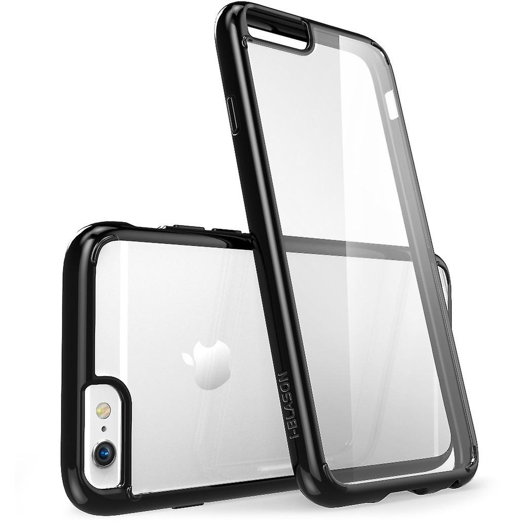 i-Blason-iphone 6 plus, Halo serie Scratch resistente transparente híbrido caso TPU parachoques transparente negro