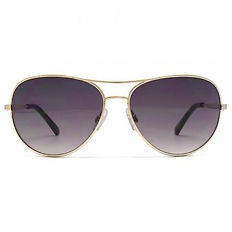 Connexion français Metal Aviator Sunglasses In Gold Shiny