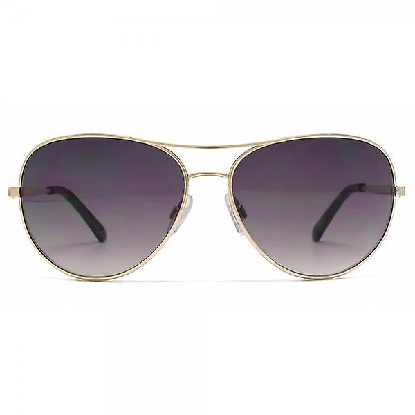 French Connection Metal Aviator Sunglasses In Shiny Gold