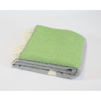 Tweedmill Pure New Wool Illusion Panel Throw - Green/Grey