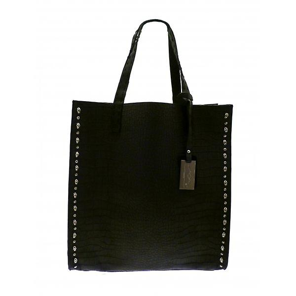 W.A.T Big Black Faux Snake Skin Suede Skull Stud And Crystal Shopper