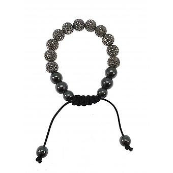 W.A.T Sparkling Pewter Crystal And Maracrame Glitterball Ball Bracelet