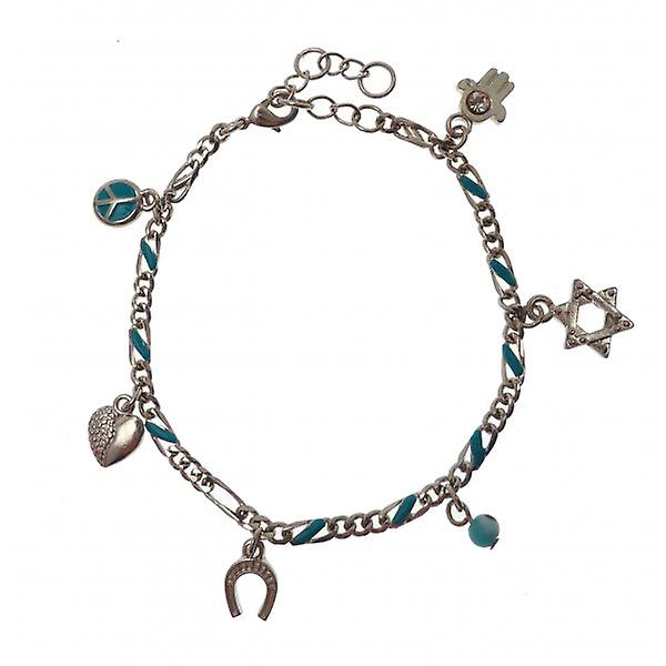 W.A.T Charm Bracelet With Peace Symbol And Hamsa Hand