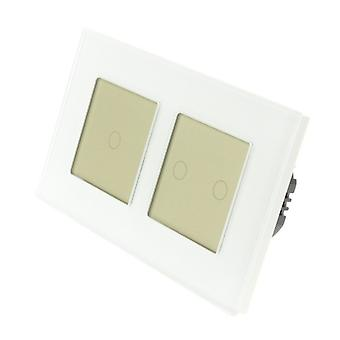 I LumoS White Glass Double Frame 3 Gang 1 Way WIFI/4G Remote Touch LED Light Switch Gold Insert
