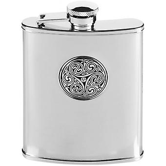 Orton West 6oz Stainless Steel Celtic Swirl Hip Flask - Silver