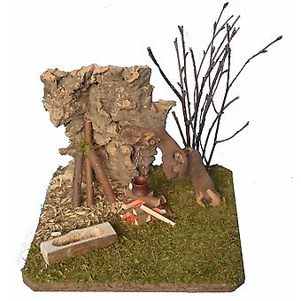 Cribs landscape with camp fire and Manger Nativity accessories for Nativity