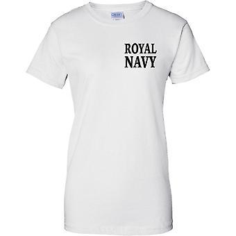 Royal Navy - Word - Ladies Chest Design T-Shirt