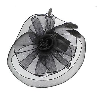 Black Fascinator on Headband or Clip-in for Weddings, Races and Occasions-H51484