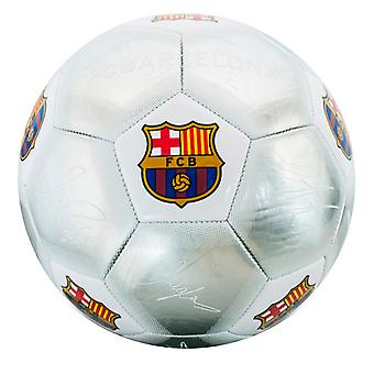 FC Barcelona Official Silver Signature Crest Football (Size 5)