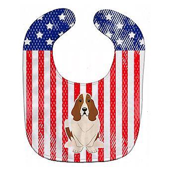 Carolines Schätze BB3016BIB patriotische USA Basset Hound Baby Lätzchen