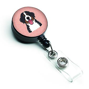Checkerboard Pink Bernese Mountain Dog Retractable Badge Reel