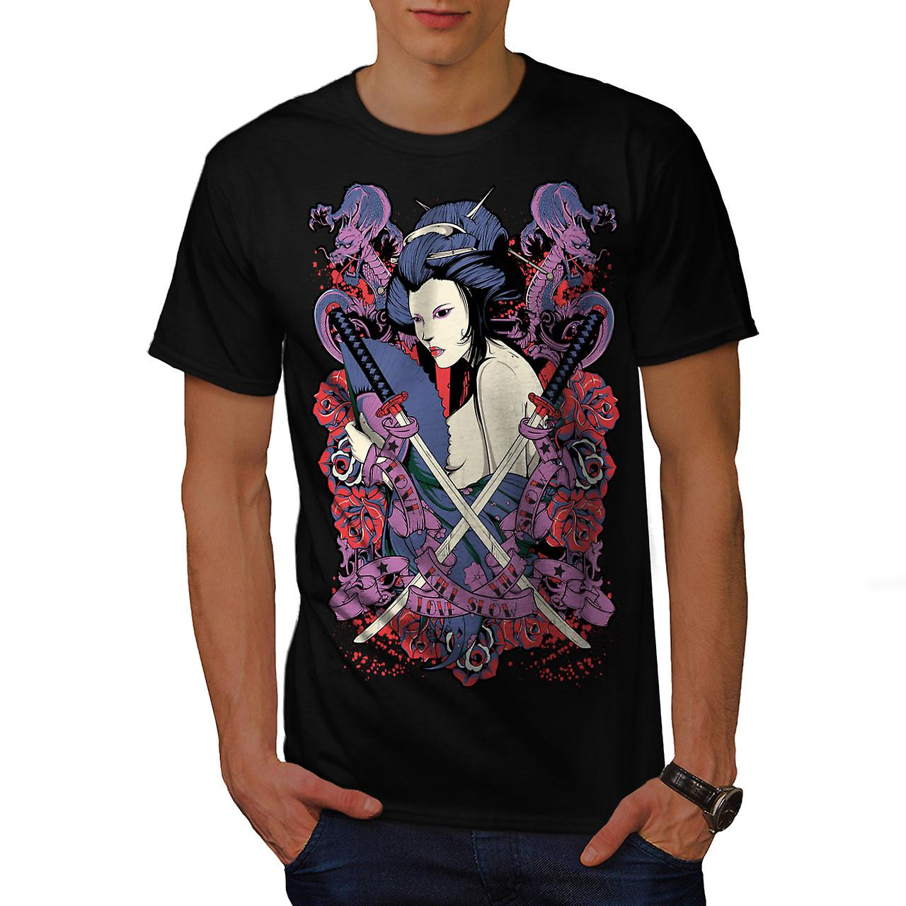 Geisha Rose Asia Fantasy Men Black T-shirt | Wellcoda