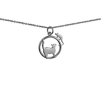 Silver 20x17mm Cat looking right and Mouse in a circle Pendant with rolo Chain 14 inches Only Suitable for Children