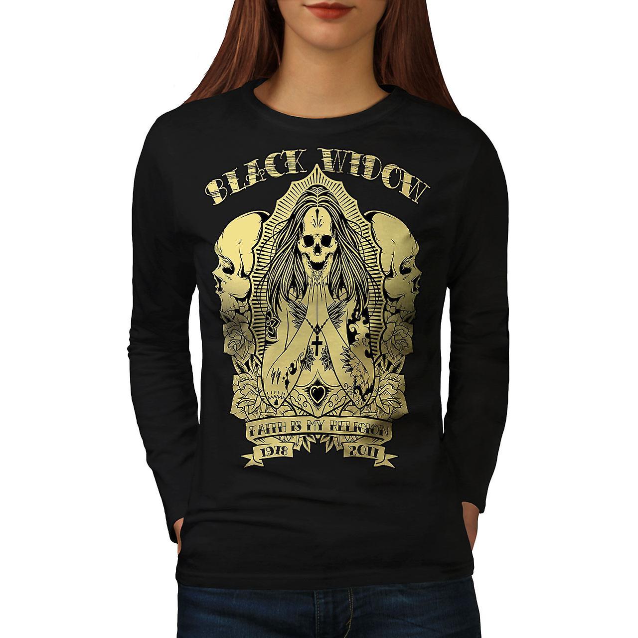 Black Skull Goth Women BlackLong Sleeve T-shirt | Wellcoda