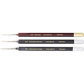 Rotmarder / Synthetic brush, 3 pieces Thickness 10/0, 10/0 and 2/0 Eli