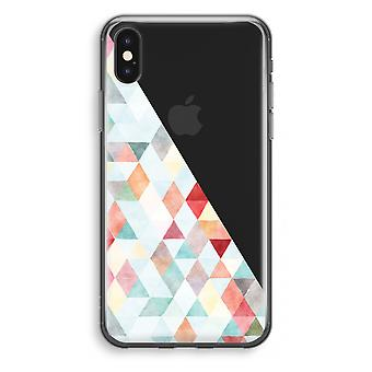 iPhone X Transparant Case - Coloured triangles pastel
