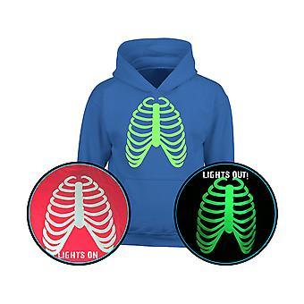 Rib Cage GLOW IN Halloween Scheletro Kids Hoodie 10 colori scuri (S-XL) da swagwear