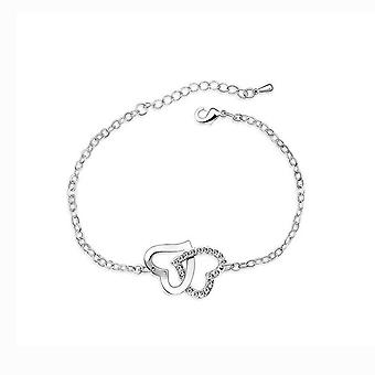 Womens Double Heart Intertwined Love Bracelet Clear Crystal Stones