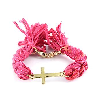 Ettika - Bracelet yellow gold Cross and cotton ribbons braided Red