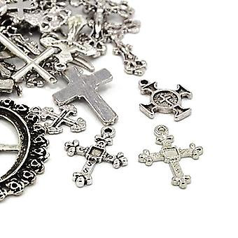 Packet 30 Grams Antique Silver Tibetan 5-40mm Cross Charm/Pendant Mix HA06675