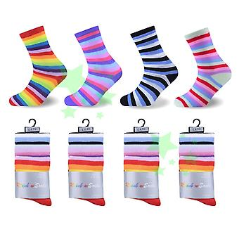 Ladies Fashion Rainbow Stripes Socks 4-6 Size 12 Pairs