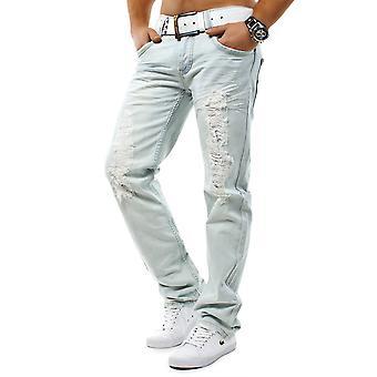 Men's Jeans Light Blue Denim Sky Destroid Clubwear White Angel