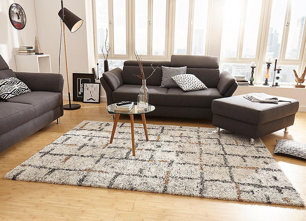 design teppich hochflor langflor grid creme fruugo. Black Bedroom Furniture Sets. Home Design Ideas