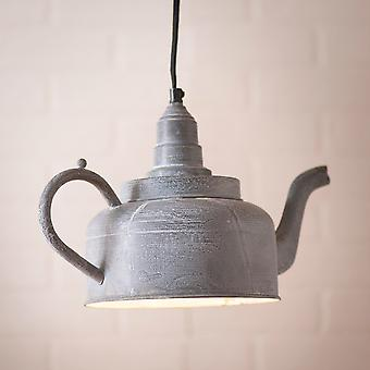 Irvin's Country Tinware Kettle Pendant in Weathered Zinc