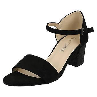 Ladies Anne Michelle Mid Glitter Heel Mule Sandals F10739