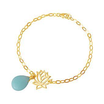 GEMSHINE damer armbånd laget av høykvalitets forgylt 925 sølv med YOGA lotusblomst og turkis slipp utmerket kvalitet. Laget i Madrid, Spania. I elegante smykker med gaveeske.