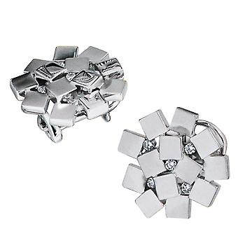Earring studs studs, rhodium-plated, 925-sterling silver, partially frosted, 10 cubic zirconia, Omega lock