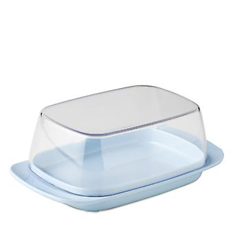 Rosti Mepal Plastic Butter Dish, Clear with Retro Blue Base