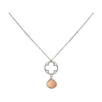 Ladies - necklace - pendants - CLOVER - 925 Silver - DRUZY - Rose Quartz - 45 cm